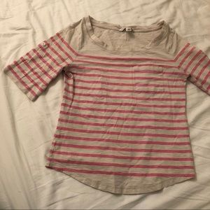 Banana Republic Roll Up Sleeves Striped Boat Tee